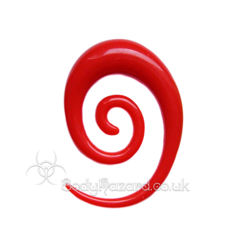 Red Acrylic Elongated Spiral