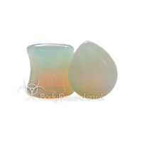 Opalite Stone Teardrop Double Flared Plug
