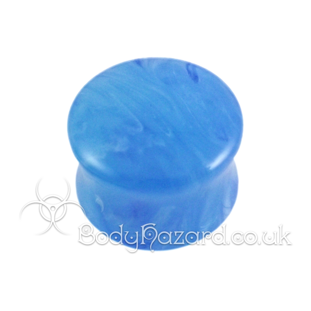 Blue Pearlescent Swirl Double Flared Acrylic Plug