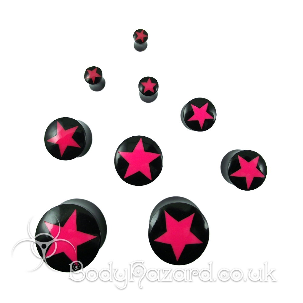 Buffalo Horn Hot Pink Star Plug