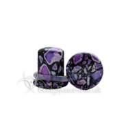 Purple Crazy Paving Agate Stone Single Flared Ear Plug