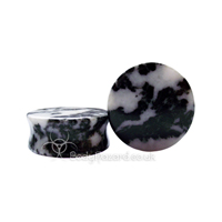 Black & White Pyrite Quartz Stone Double Flared Ear Plug