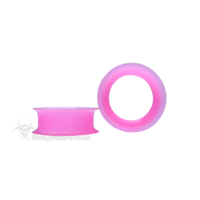 Pink Silicone Eyelet Round Shape Tunnel Earskin