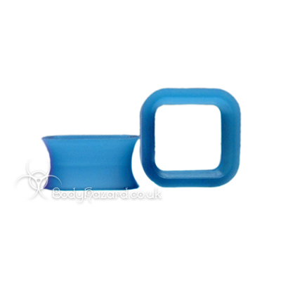 Blue Square Silicone Eyelet Cube Shape Tunnel