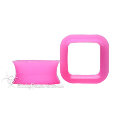 Pink Square Silicone Eyelet Cube Shape Tunnel
