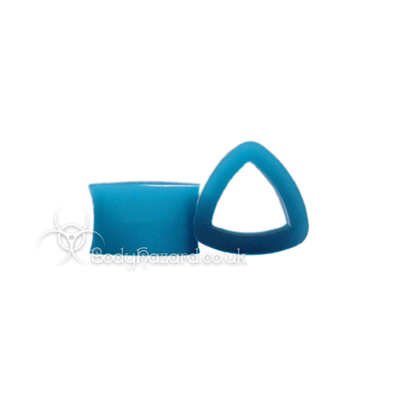 Blue Triangle Silicone Eyelet Teardrop Shape Tunnel
