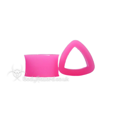 Pink Triangle Silicone Eyelet Teardrop Shape Tunnel