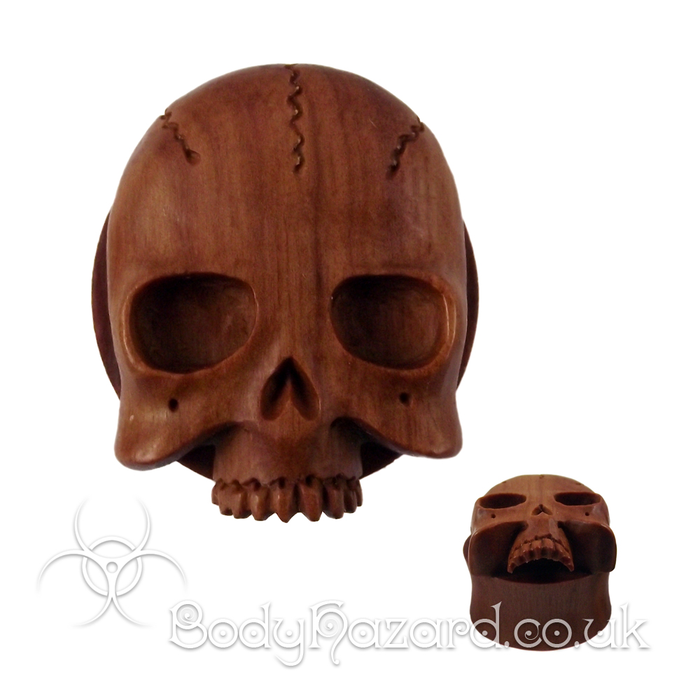 Skull Carved Saba Wood Double Flared PLug