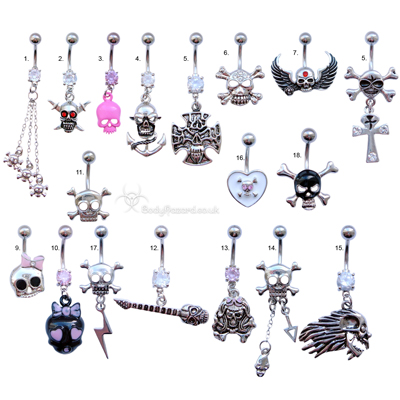 Skull Belly Bars Clear CZ Gems Surgical Steel Barbell