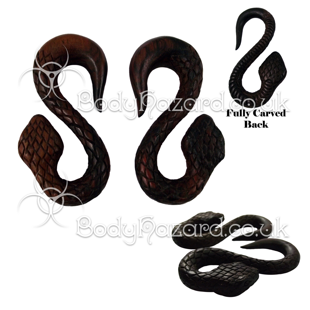 Pair of 3D Carved Sono Wood Snake Ear Spiral