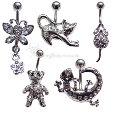 Animal Shaped Belly Bars Surgical Steel Barbell CZ Gems