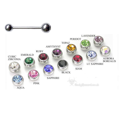 Steel Tongue Bars with CZ Gems Surgical Steel Barbell