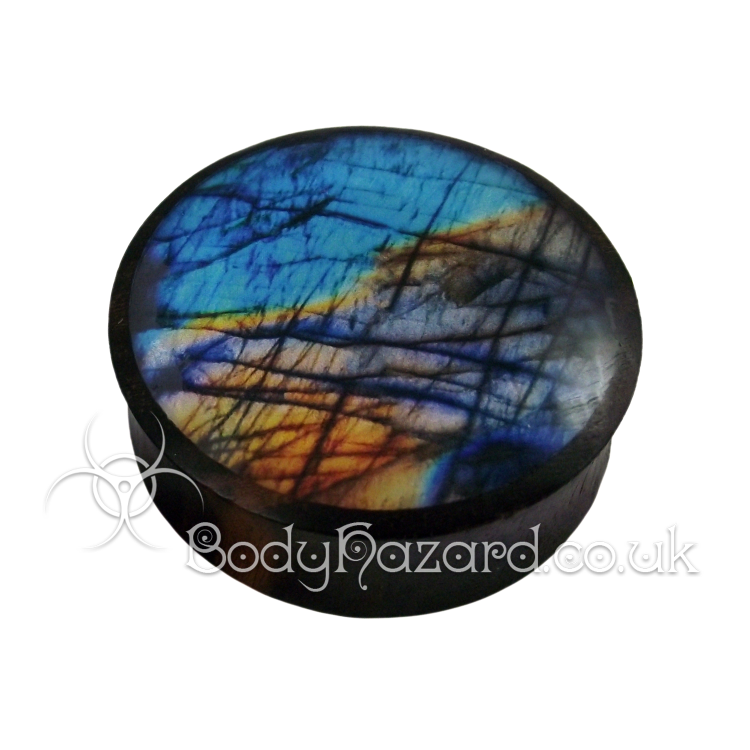 Synthetic Labradorite & Sono Wood Double Flared Ear Plug