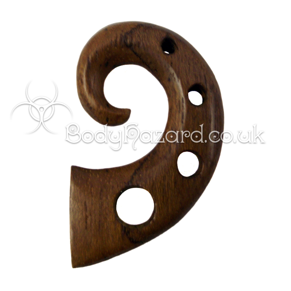 Teak Wood Tribal Spirals with Holes