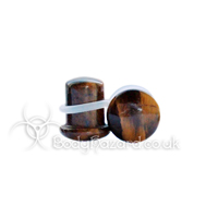 Yellow Tigers Eye Stone Single Flared Ear Plug
