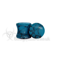 Turquoise Howlite Stone Double Flared Ear Plug