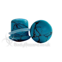 Turquoise Howlite Stone Single Flared Ear Plug