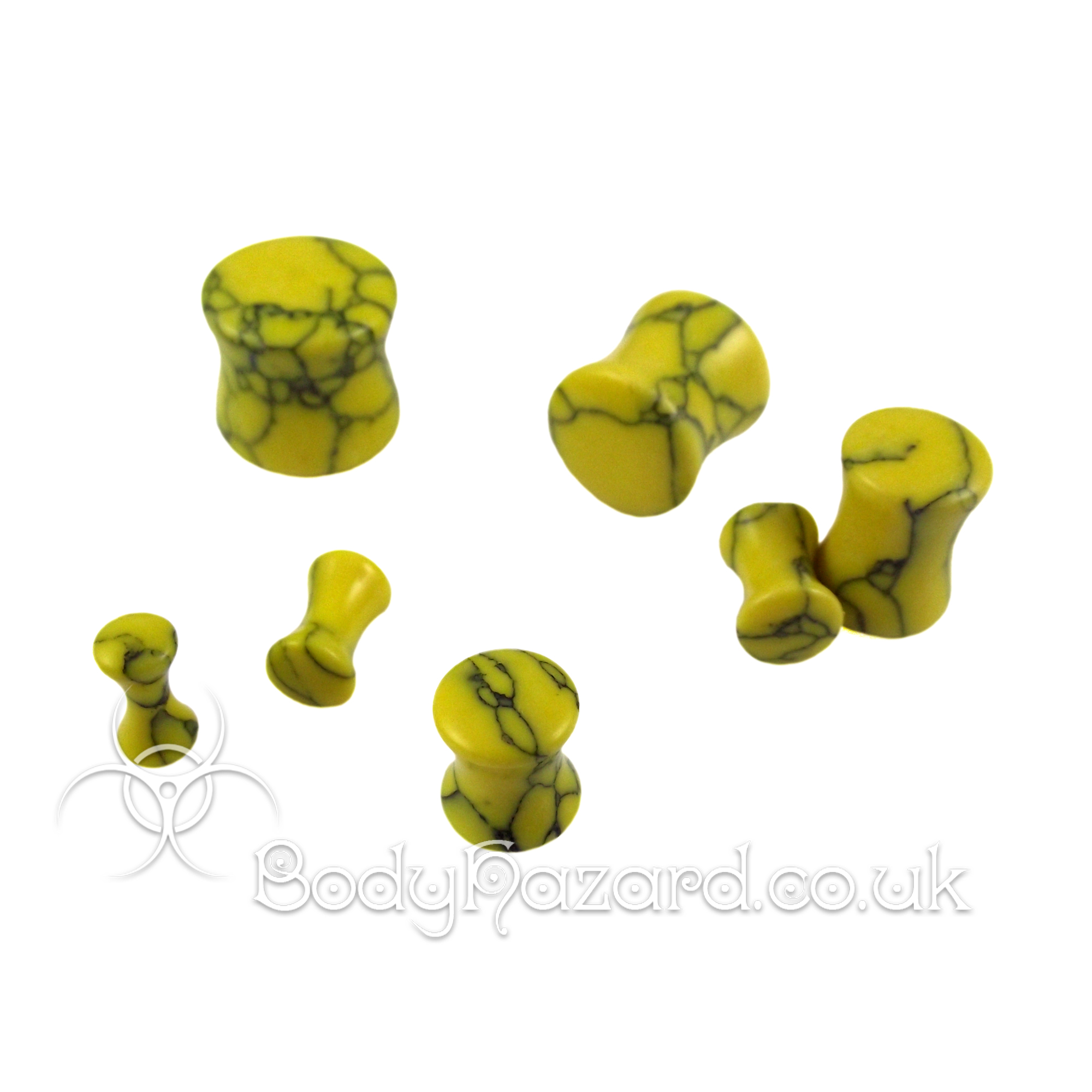 Yellow Howlite Stone Double Flared Ear Plug