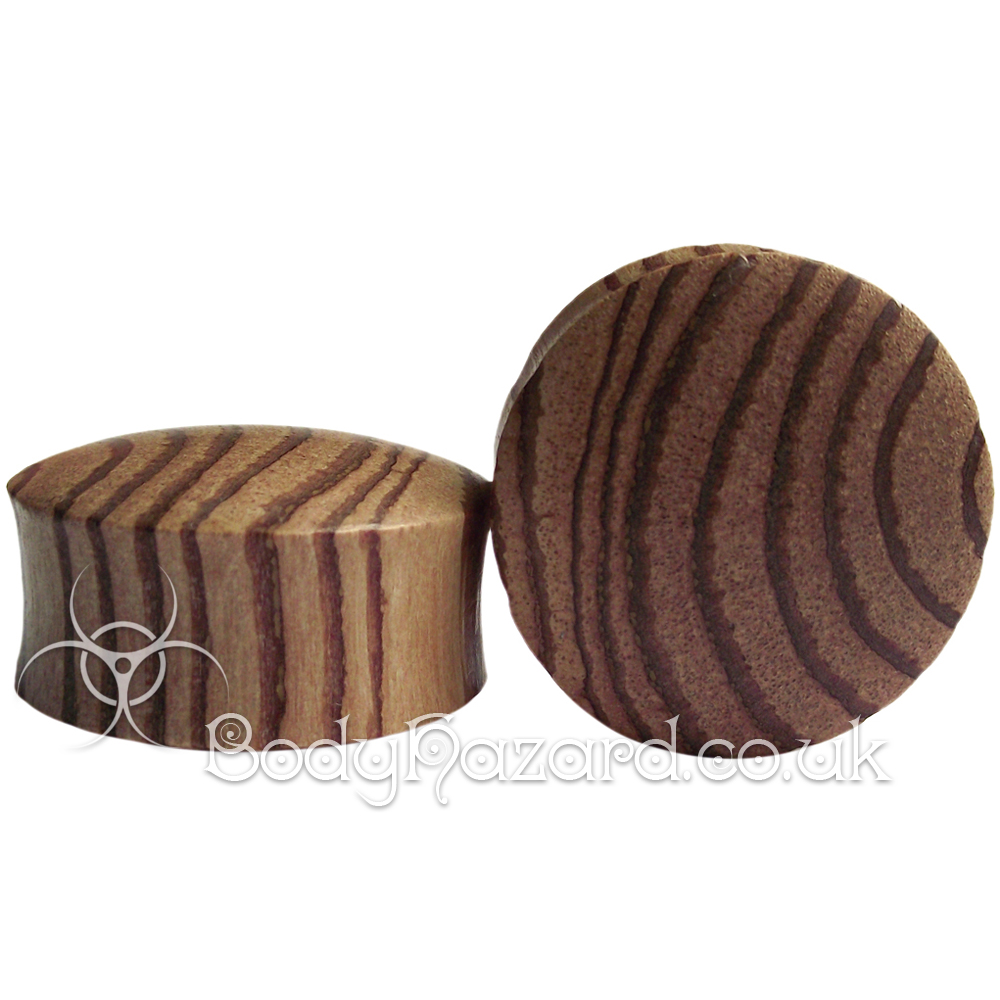 Zebra Wood Wood Double Flared Plugs
